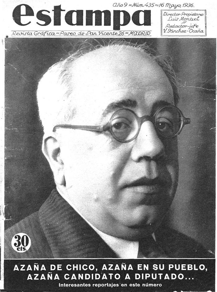 Manuel Azaña, en la portada de la revista Estampa