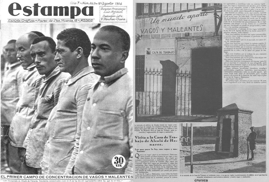 """Reportaje de la revista """"Estampa"""" sobre el primer Campo de concentración de vagos y maleantes creado en la Galera de Alcalá de Henares."""