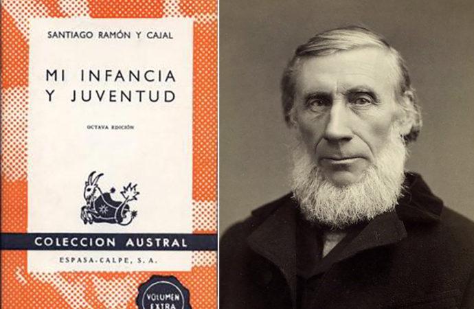 Cubierta del libro de Ramón y Cajal y retrato de John Tyndall.