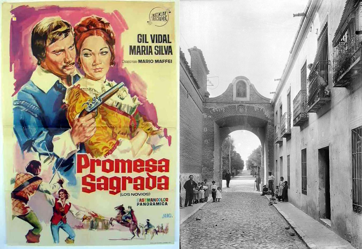 Cartel de la película sobre la novela de Manzoni y la calle San Bernardo a finales del siglo XIX.
