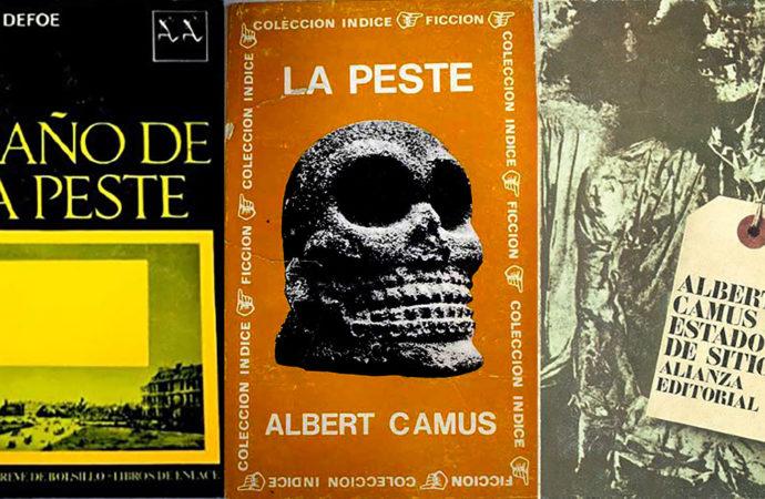 Cubiertas de los libros de Daniel Defoe y Albert Camus.