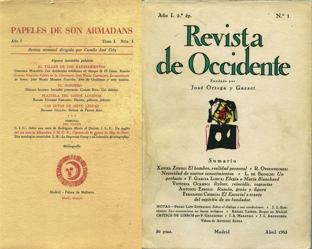 Portadas de los números uno de Papeles de Son Armadans (1956) y Revista de Occidente (segunda etapa,1963). Archivo V.A.S.