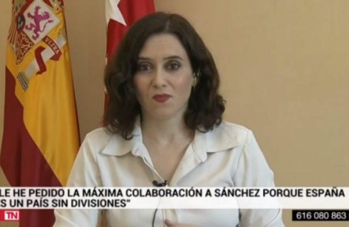 La presidenta de la CAM pide a Pedro Sánchez 1000 millones de euros para más material sanitario