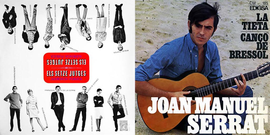 Cubierta del disco antológico de Els Setze Jutges y del single de Joan Manuel Serrat.