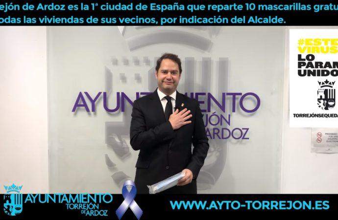 El ayuntamiento de Torrejón reparte mascarillas de manera gratuita  a todos los vecinos de la ciudad