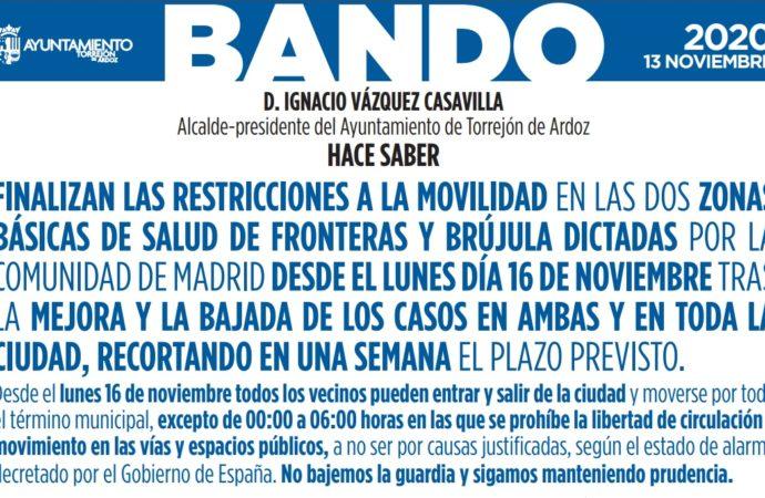 Desde hoy lunes los barrios de Brújula y Las Fronteras de Torrejón ya no tienen restricciones de movilidad