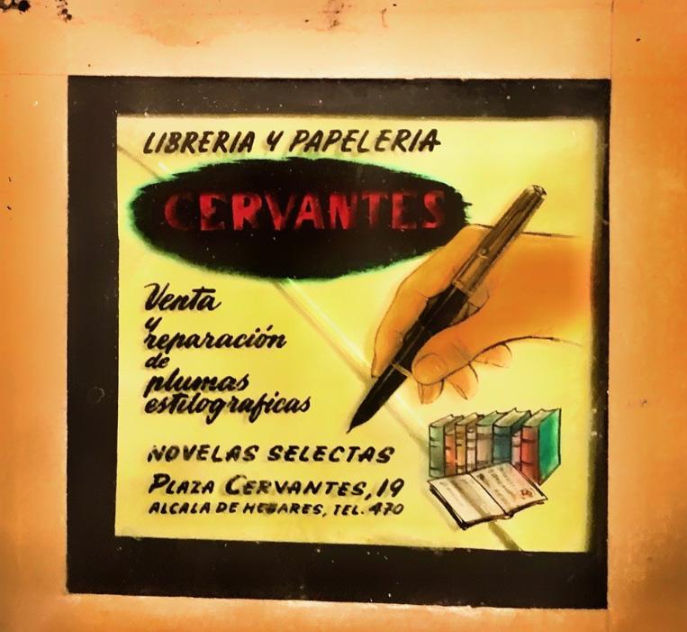 Anuncio de la Librería Cervantes, que se proyectaba en el cine Paz, entre película y película de los programas dobles. (Archivo La Librería deJavier).