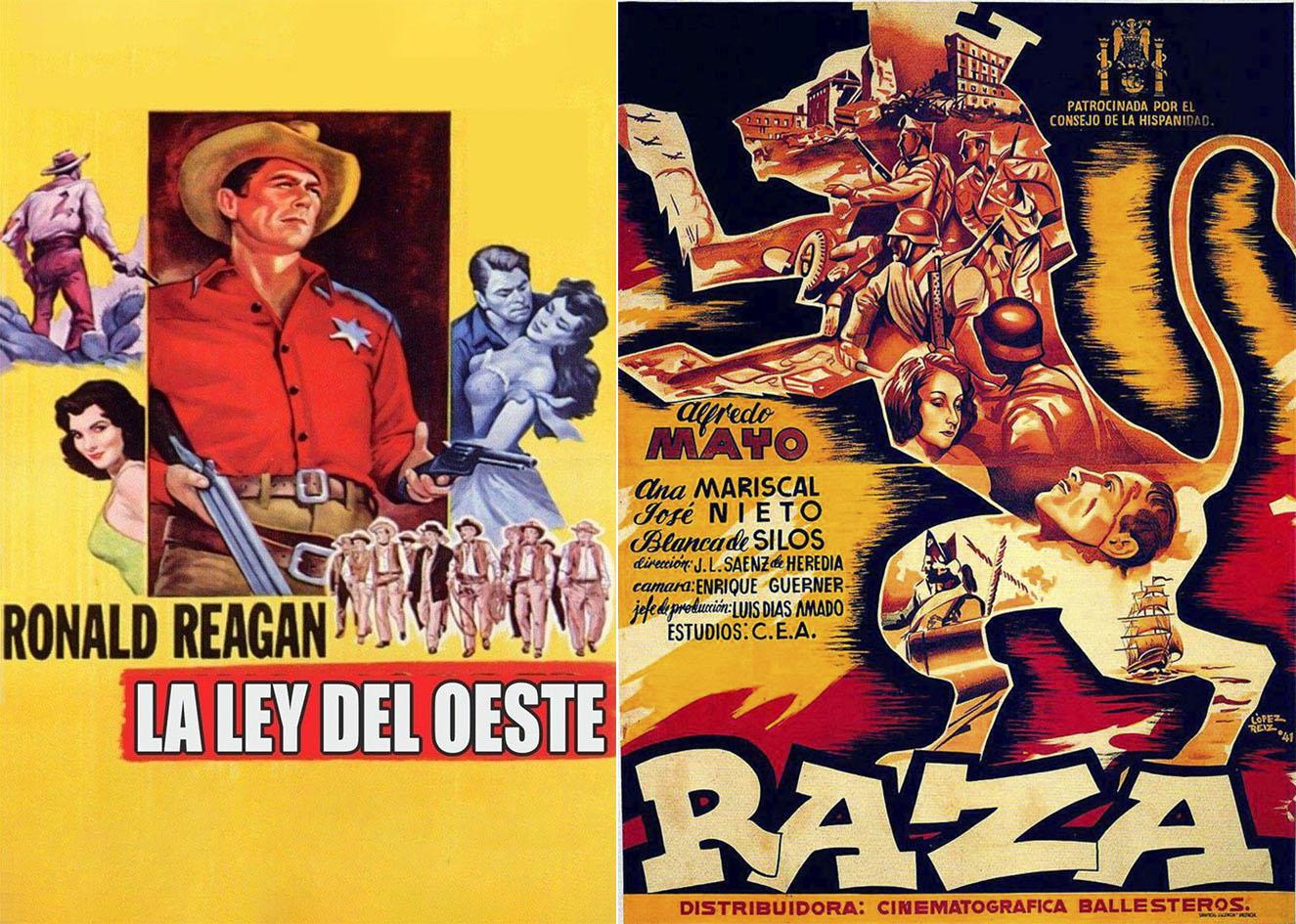 Carteles de dos películas, una de tiros y la otra de heroísmo victorioso.