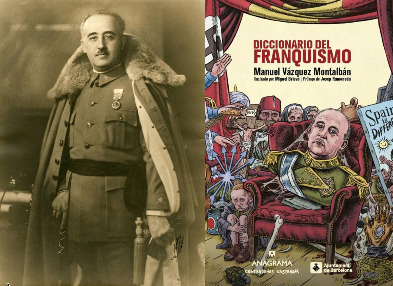 """El galán del No-Do y cubierta del """"Diccionario del franquismo"""" (Ed. Anagrama)."""