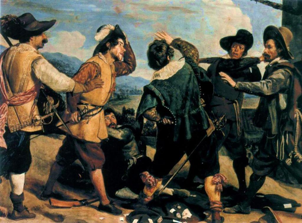 Riña entre soldados ante la Embajada deEspaña en Roma. Cuadro atribuido a Velázquez (1630).