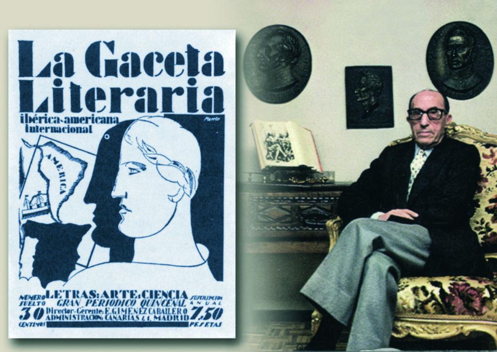 """Portada de """"La Gaceta Literaria"""" (1927) y Ernesto Giménez Caballero (circa 1980)."""