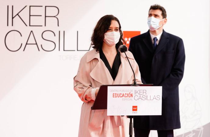 Iker Casillas y Díaz Ayuso presentan en Torrejón el Centro Público de Educación Especial que llevará el nombre del ex futbolista