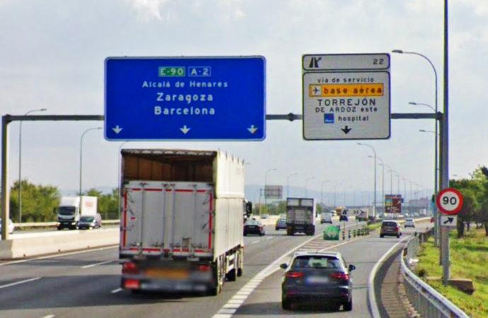 Cerrado en Torrejón el acceso a la calle Budapest en la salida número 22 de la A2
