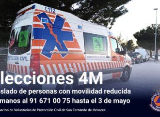 Protección Civil de San Fernando llevará a votar a los vecinos con movilidad reducida