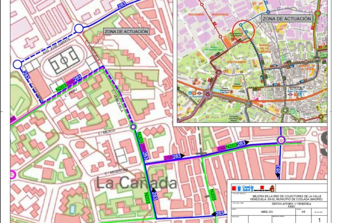 El lunes 24 se desviará la línea 283 en Coslada por las obras en un colector del Canal de Isabel II